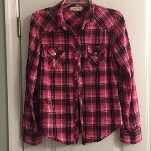 OP pink and black plaid shirt